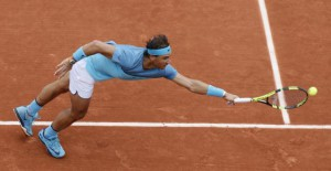 Rafael Nadal of Spain returns the ball to Sam Groth of Australia at the French Open May 24, 2016. REUTERS/Gonzalo Fuentes