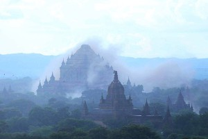 The ancient Sulamuni temple is seen shrouded in dust as a 6.8 magnitude earthquake hit Bagan on August 24, 2016. A powerful 6.8 magnitude earthquake struck central Myanmar on August 24, killing at least one person and damaging pagodas in the ancient city of Bagan, officials said. The quake, which the US Geological Survey said hit at a depth of 84 kilometres (52 miles), was also felt across neighbouring Thailand, India and Bangladesh, sending panicked residents rushing onto the streets.   / AFP PHOTO / SOE MOE AUNG / ìThe erroneous mention[s] appearing in the metadata of this photo by SOE MOE AUNG has been modified in AFP systems in the following manner: [Sulamuni temple] instead of [Dhammayangyi temple]. Please immediately remove the erroneous mention[s] from all your online services and delete it (them) from your servers. If you have been authorized by AFP to distribute it (them) to third parties, please ensure that the same actions are carried out by them. Failure to promptly comply with these instructions will entail liability on your part for any continued or post notification usage. Therefore we thank you very much for all your attention and prompt action. We are sorry for the inconvenience this notification may cause and remain at your disposal for any further information you may require.î